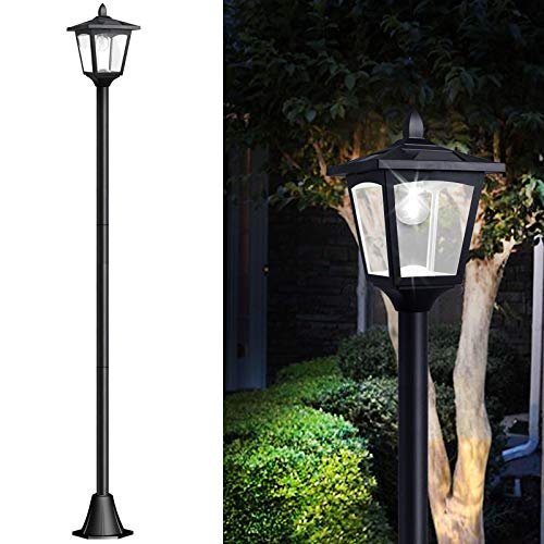 "67"" Solar Lamp Post Lights Outdoor, Solar Powered Vintage Street Lights for Lawn, Pathway, Driveway, Front/Back Door"