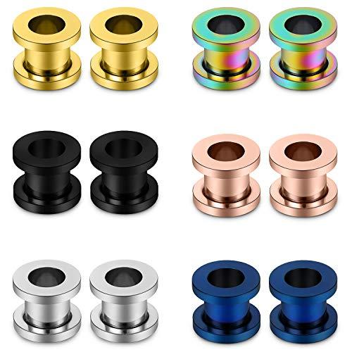 Lcolyoli Ear Gauges Kit Surgical Steel Tunnel Expander Earrings Earlobe Plugs Body Piercing Jewelry Set for Women Men 12G-00G 12Pcs