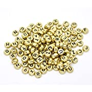 """Rockin Beads Brand, 450 Mixed Gold Tone Acrylic Alphabet /Letter """"A-z"""" Coin Spacer Beads 7x4mm Round Sold Per Pack of 450"""