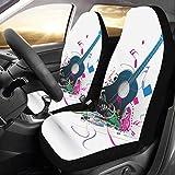 CKYHYC カーシートカバー おくゆかしい音楽音符 自動車 座席 クッション マット 前席 2個 フロントベンチシート用 保護 防水 適用 ずれにくい おしゃれ
