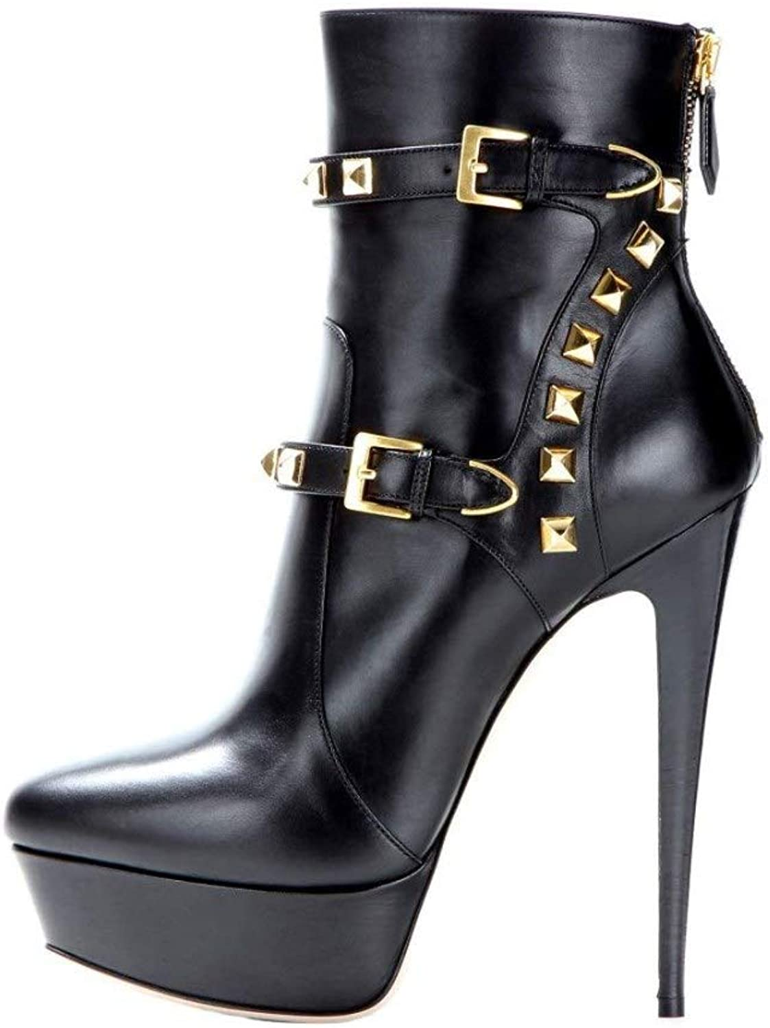 Nine Seven Women's Genuine Leather Pointed Toe Super High Heel Handmade Sexy Party Back Zip Strap Buckles Rivet Dress Ankle Booties
