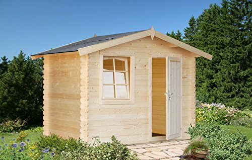 Gartenhaus Pinus P1 naturbelassen - 28 mm Blockbohlenhaus, Grundfläche: 4,70 m², Satteldach