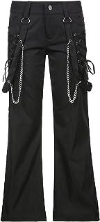 YezefennhfWCK بناطيل للنساء، سلسلة ملابس الشوارع المرقعة السراويل السوداء للنساء واسعة الخصر سحاب السراويل واسعة الساق (ال...