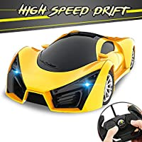男の子のためのリモートコントロール車、1/16スケールドリフトRC車のおもちゃLEDヘッドライト華やかな趣味スーパービークル