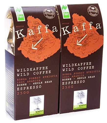 Kaffa Wildkaffee Bio Kaffa Wildkaffee, Espresso, ganze Bohne, 250g (2 x 250 gr)