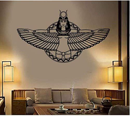 Pegatinas De Pared Belleza Egipcia Tatuajes De Pared Estudio De Yoga Cosméticos Salón De Belleza Tienda De Ropa Sala De Estar Tv Pared Dormitorio Decoración Mural Vinilo 100X57Cm