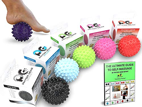 Physix Gear Sport Massage Balls - Best Spiky Ball Roller for Plantar Fasciitis Trigger Points Neck & Back Pain Relief - Deep Tissue Rehab Reflexology Acupressure - Reach Areas Foam Rollers Can't(PURP)