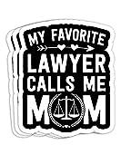 Law School Graduation Favorite Lawyer Mom Decorations - 4x3 Vinyl Stickers, Laptop Decal, Water Bottle Sticker (Set of 3)