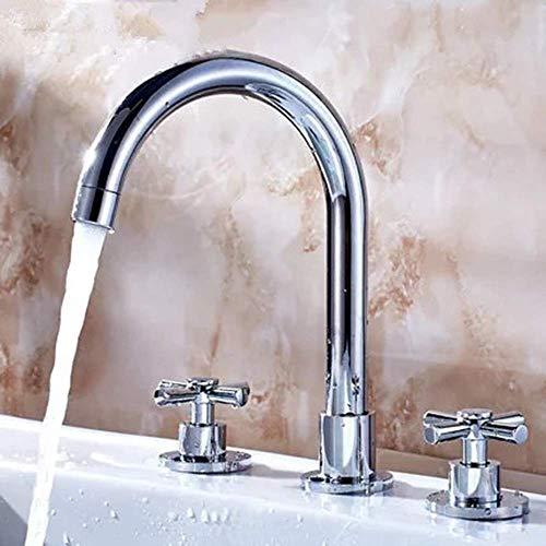 Fácil de Instalar Lavabo de baño Manija Doble Cobre Dividido Agua fría y Caliente Grifo de Tres Orificios Grifo de Lavabo Europeo de Tres Piezas