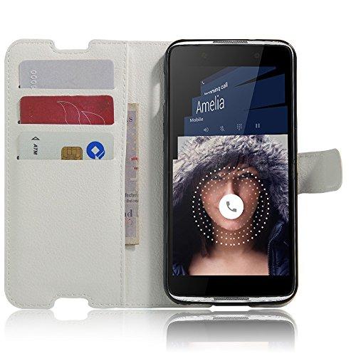 Tasche für Alcatel Idol 4 (5.2 zoll) Hülle, Ycloud PU Ledertasche Flip Cover Wallet Hülle Handyhülle mit Stand Function Credit Card Slots Bookstyle Purse Design weiß