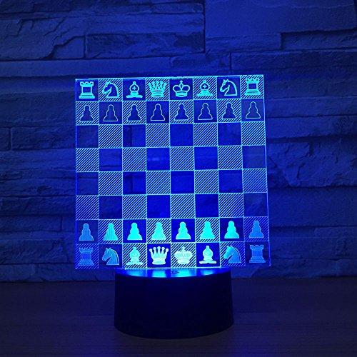 3D Phantom Night Light Ajedrez Luz de ilusión de 7 colores Niños Dormitorio Lámpara de mesa para Niño Niña Regalo de cumpleaños Decoración para el hogar Luz regalo creativo