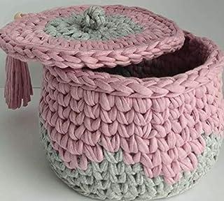 Cesta de almacenamiento con tapa lavable, tejida a mano