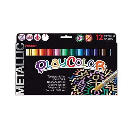Playcolor 422007 - Pack de 12 temperas solidas, multicolor
