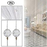 UNIAI Fadenvorhang Fadengardine Vorhang Perlenvorhang - 2er Pack Tür Perlen