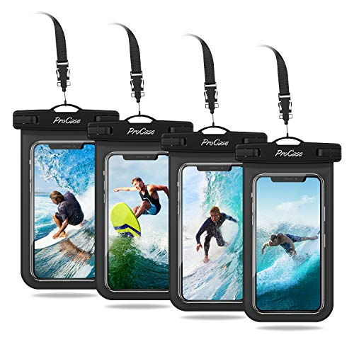 ProCase Universal Cellphone Waterproof Pouch Dry Bag Underwater Case for iPhone 12 Pro Max 11 Pro Max Xs Max XR X 8 7 6S, Galaxy S20 Ultra S10 S9 S8/Note10 9 up to 6.9' -4 Pack,Black