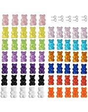 سلسلة مفاتيح ملونة من الراتنج الدب غامي (65 قطعة، 13 لون)