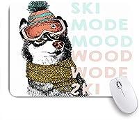 GUVICINIR マウスパッド 個性的 おしゃれ 柔軟 かわいい ゴム製裏面 ゲーミングマウスパッド PC ノートパソコン オフィス用 デスクマット 滑り止め 耐久性が良い おもしろいパターン (ビーニーシベリアンハスキー犬動物野生動物描く暖かい美容キャップ雪キャラクター冷たいかわいい)