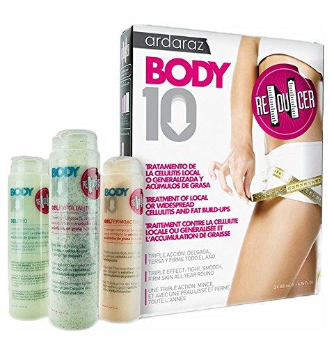 Crème anti-cellulite, crème réductrice, crème raffermissante BODY10 REDUCER. Traitement anti-cellulite triple action EFFICACITÉ PROUVÉE. Gel gommant, Gel rafraîchissant, Gel thermo-actif
