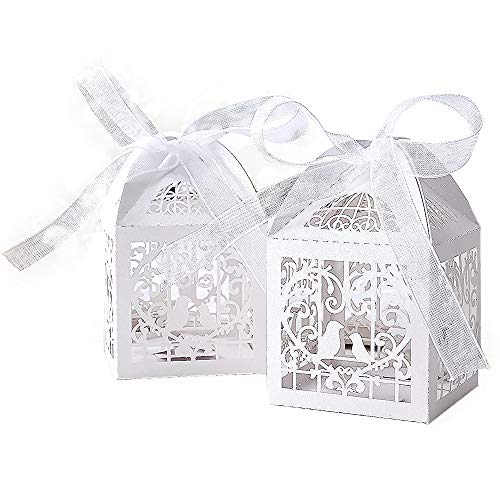 KAZIPA 50pcs Laser Cut Wedding Favor Boxes,2.2''x2.2''x2.2'' Gift Boxes with 50 Ribbons, Rustic Wedding Decoration for Wedding Decoration Bridal Shower Party Favor Birthday(White)