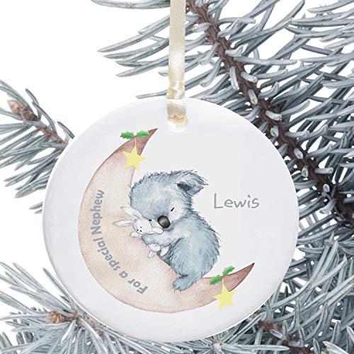 Lplpol Decoración personalizada de árbol de Navidad de pingüino de cerámica para un sobrino personalizado Koala sobrino vacaciones ornamento regalo de tío tía