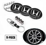 XXX 9 Piece Set 65mm Car Wheel Center Cap Cover Logo Emblem Sticker for Honda Matching with Tire Valve Stem Caps and Keychain for Honda (fit Honda)