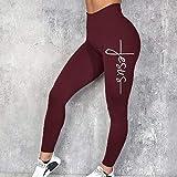 Pantalones de yoga de cintura alta Workout Running,Pantalones de yoga con estampado de letras de cintura alta,polainas sin costuras elásticas-3_wine_red_XXL,Leggings de yoga ultra suaves y cómodos