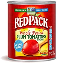 Redpack No Salt Added Whole Peeled Plum Tomatoes in Puree, 28oz Can (Pack of 12)
