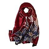 100% Silk Scarf - Women's Fashion Large Sunscreen Shawls Wraps - Lightweight Floral Pattern Satin for Headscarf&Neck (C-27)