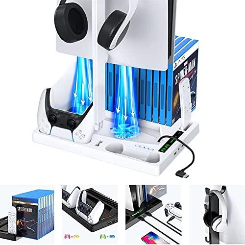 LVHI PS5 Multifunktions-ladeständer Host Kühlregal Game Controller Ladegerät Für Playstation 5 Zubehör Konsole Joypad Gamepad Cradle Holder (Color : White)