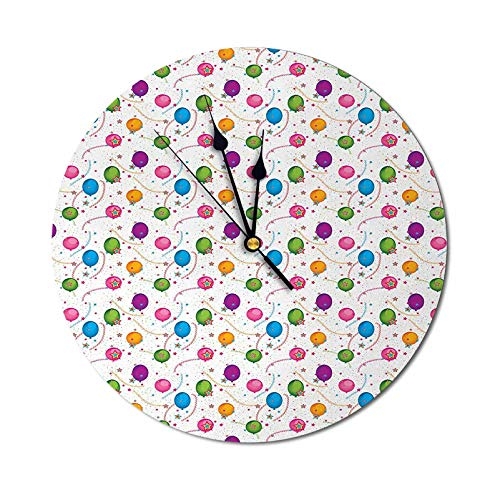 Homesonne Clock Vibrant Colored Flying Balloons with Stars and Confetti Pattern for Fun Event Teaching Clock for Filling Up an Empty Space Multicolor - 9.84 Inch