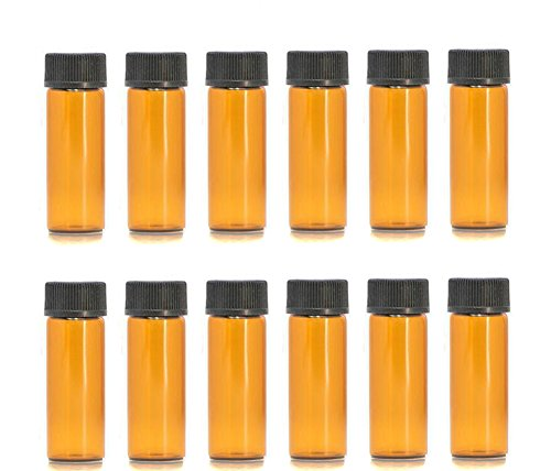 erioctry 1ml/2ml/3ml/5ml Mini Amber Glass Vial Essential Oil Bottles with Orifice Reducer and Cap for Essential Oils, Chemistry Lab Chemicals, Colognes & Perfumes (12 Pack) (5ml)
