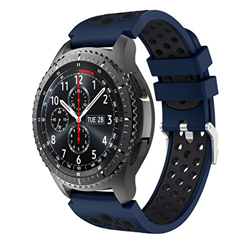 Syxinn Kompatibel mit Armband Galaxy Watch 3 45mm/Gear S3 Frontier/Classic 22mm Ersatz Uhrenarmband Silikon Sportarmband for Galaxy Watch 46mm/Moto 360 2nd Gen 46mm (Blau-schwarz)