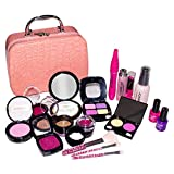 Arkmiido Kids Pretend Play Toys Makeup Set, 19pcs Makeup Kits for Girls with Cosmetics Storage Bag Best Gift