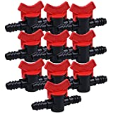 Hastyle 10 Pcs 16mm Straight Drip Valve Irrigation Tube Fitting Garden Switch Hose Connectors