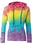 Koloa Surf Co. Womens Rainbow Stripe V-Neck Burnout Hoodies - Large