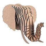 Cardboard Safari Recycled Cardboard Animal Taxidermy Elephant Trophy Head, Eyan Brown Small