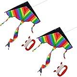 Kids Kite, FOKOM 2 Pack Huge Rainbow Kite Colorful Kite Beach Kite With