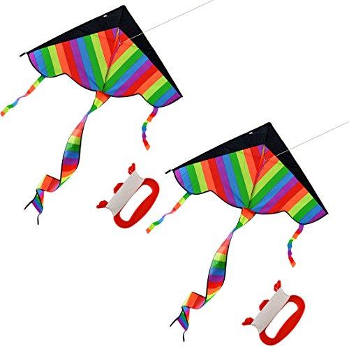 Cerf-volant, FOKOM Cerf-volant Rainbow Kite Cerfs-volants pour les enfants et les familles avec chaîne de cerf-volant de 50m
