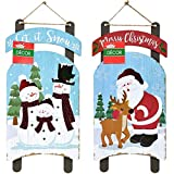 Christmas Decorations Wall Signs Celebrate A Holiday Let it Snow Decore Door Ornament Large Wood Hanging Plaque Merry X-mas Country Home Decor Indoor Outdoor Porch Hanger Sled-Shaped 2 Pack 15.5'x7.5'