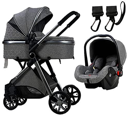 XYSQ Cochecito De Bebé, Sistema De Viaje para Bebés 3 En 1, Cochecito De Viaje De Absorción De Choque Plegable, Cochecitos De Cochecitos Convertibles Compactos, Cesta De Almacenamiento