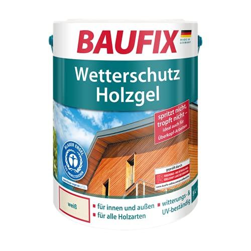 BAUFIX Wetterschutz-Holzgel, Holzlasur weiß, 5 Liter, tropfgehemmte Holzschutzlasur für innen und außen, atmungsaktiv, für alle Holzarten, UV-beständig, witterungsbeständig