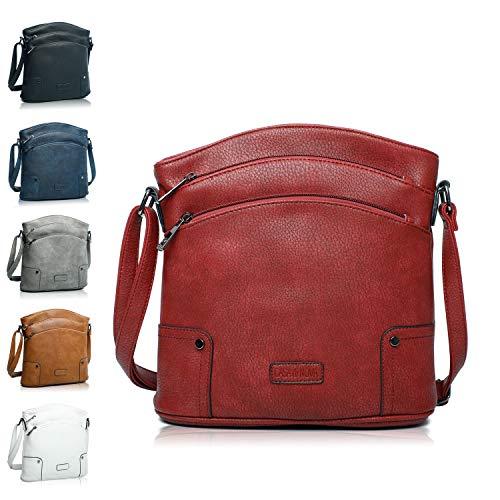 Handtasche Damen - veganes leder- Umhängetasche Rot , Schultertasche, kleine Tasche - 25x26x5 cm