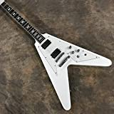 guitar Electric Guitar V Shaped White Chrome Hardware Guitar String Acoustic Steel The Guitar Acoustic acoustic guitar Hyococ (Color : White, Size : 39 inches)