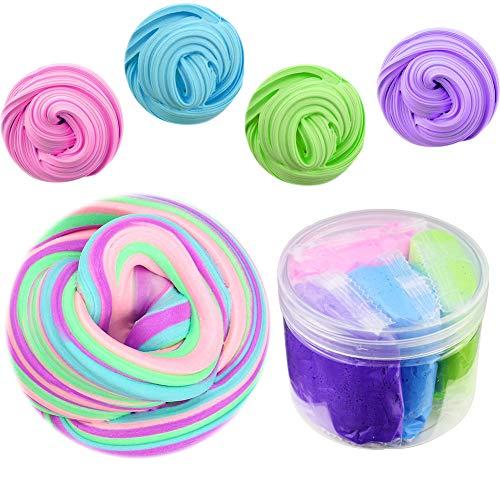 SWZY Fluffy Slime Kit,4 in 1 Misto Soffice Floam Limo Giocattolo di Argilla Elastica e Non tossica per Bambini e Adulti