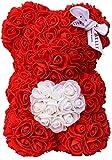 Premium Ours en Roses (Rouge avec Un Cœur, 25cm), Fait Main Nounours en Rose, Ours Fleur, Ourson en Rose Eternelle