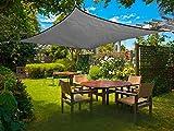 Sunnylaxx Quadratisch 2x2m Sonnensegel Sonnenschutz Garten, UV-Schutz wetterbeständig HDPE Segel, Graphit