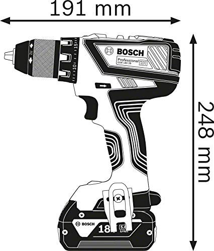 Bosch Professional 18V System perceuse-visseuse sans-fil GSR 18V-28 (couple maxi (tendre/dur)) : 28/63 Nm, avec 2 batteries 4,0 Ah, chargeur GAL 18 V-40, L-BOXX)