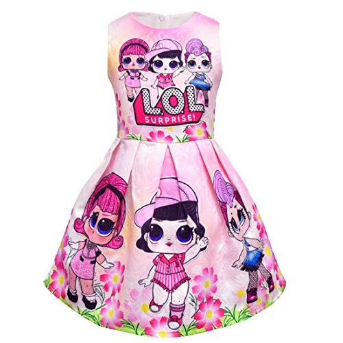 Dgfstm Surprise Doll Tank Kleid Ärmelloses Trägerkleid Knielang Mädchen Kinder Ballkleid Rosa (Pink, 130)