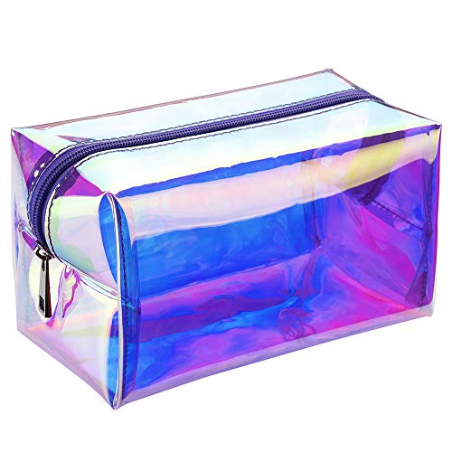 Holographic Makeup Bag, Veckle Clear Cosmetic Bag Iridescent Toiletry Pouch Clutch Purse Organizer Hologram Handbag Make-up Storage for Women Girls Purple