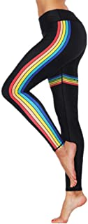 High Waist Yoga Pants Rainbow Striped Slim Push Up Trousers Women Fitness Gym Clothing Sports Elastic Breathable Leggings ...